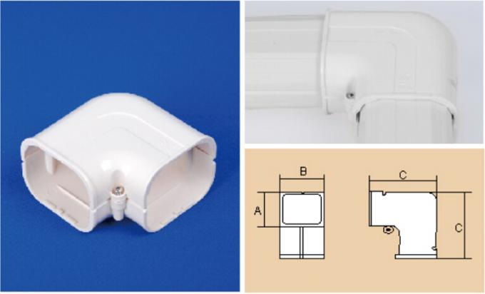100mm AC Duct Kits Air Conditioner Pipe Cover Fitting PVC Plane Corner